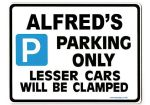ALFRED'S Personalised Gift |Unique Present for Him | Parking Sign - Size Large - Metal faced